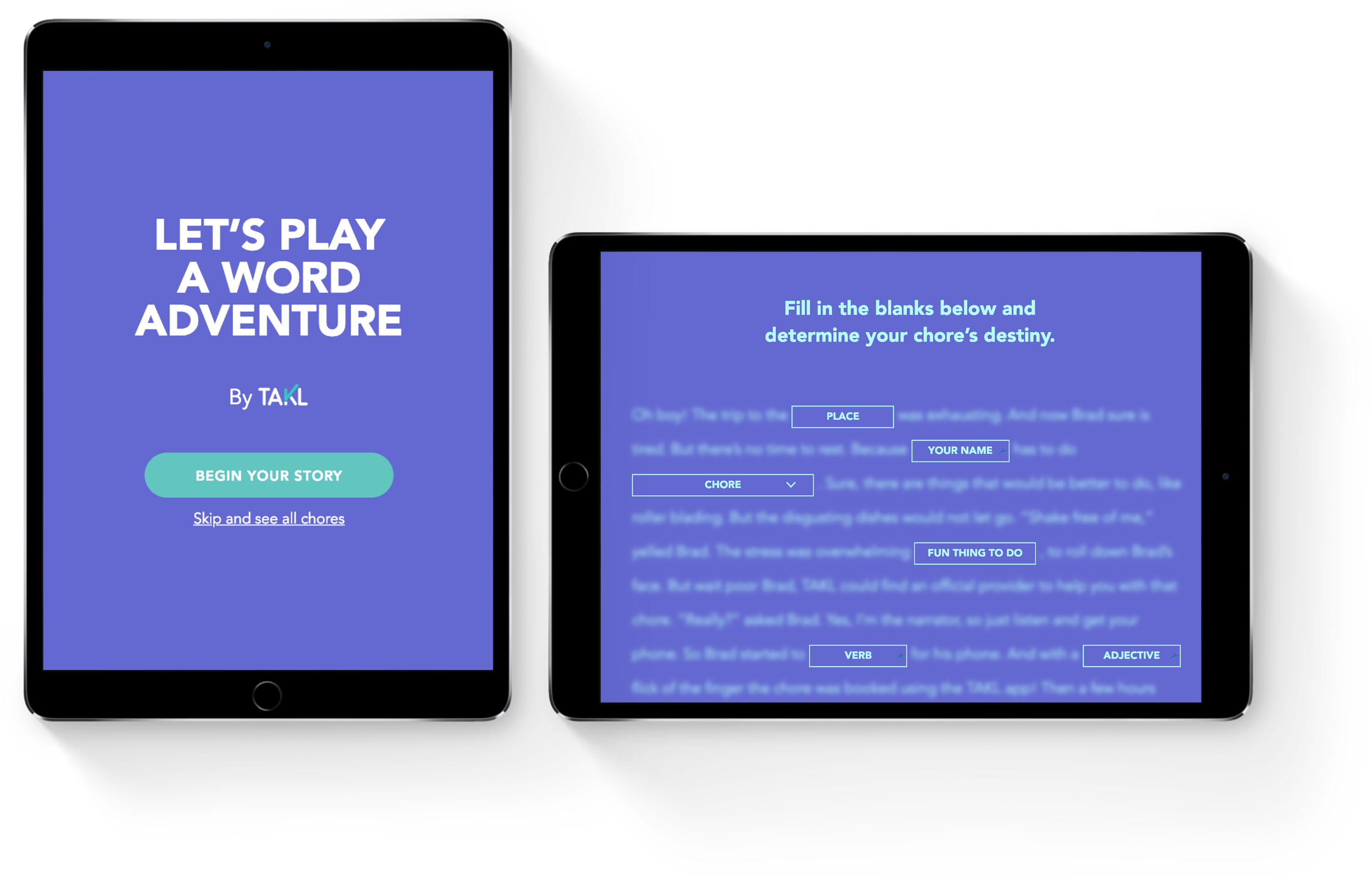 Word adventure landing page